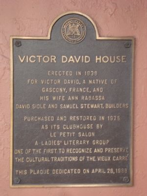Victor David House Marker image. Click for full size.