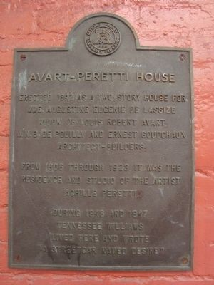 Avart-Peretti House Marker image. Click for full size.