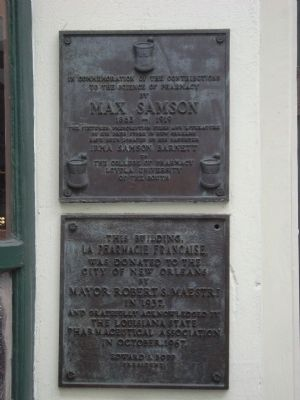 The Max Samson and La Pharmacie Francaise plaques. image. Click for full size.