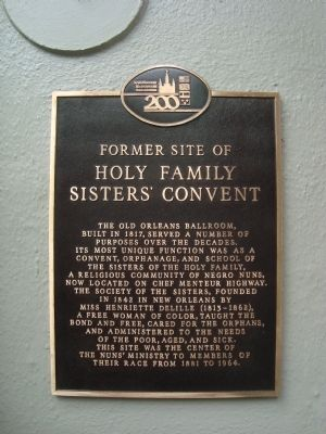 Former site of Holy Family Sisters' Convent Marker image. Click for full size.