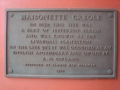 Maisonette Creole Marker image. Click for full size.