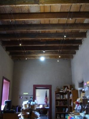 Packing crate ceiling in the Siqueiros-Jácome house. image. Click for full size.