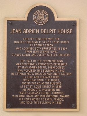 Jean Adrien Delpit House Marker image. Click for full size.