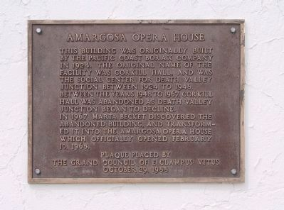 Amargosa Opera House Marker image. Click for full size.