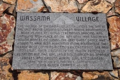 Wassama Village Marker Photo, Click for full size