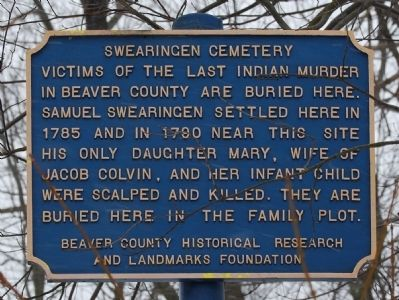 Swearingen Cemetery Marker Photo, Click for full size