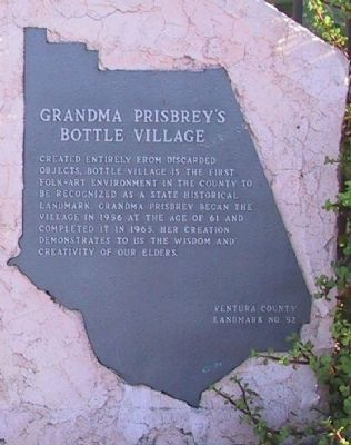 Grandma Prisbrey's Bottle Village Marker image. Click for full size.