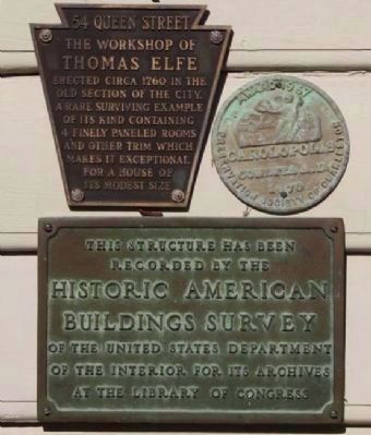 54 Queen Street Markers, includes the The Carolopolis Award and Historic American Buildings Survey image. Click for full size.