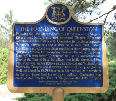 The Founding of Queenston Marker image. Click for full size.