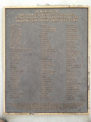 A Memorial to the Inmates Who Died at the Arizona Territorial Prison Marker image. Click for full size.