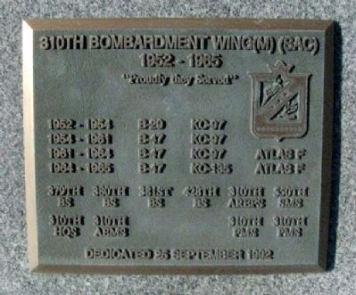 310th Bombardment Wing (M) (SAC) Marker image. Click for full size.