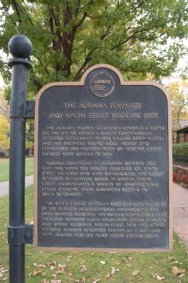 The Auraria Townsite and Ninth Street Historic Park Marker image. Click for full size.
