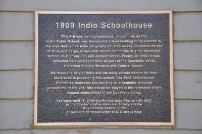 1909 Indio Schoolhouse Marker image. Click for full size.