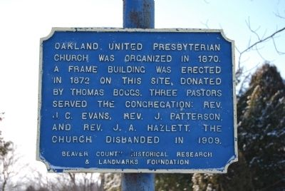 Oakland United Presbyterian Church Marker image. Click for full size.