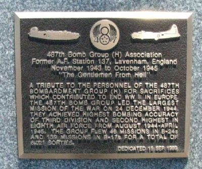 487th Bomb Group (H) Association Marker image. Click for full size.
