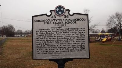 Gibson County Training School / Polk - Clark School Marker image. Click for full size.