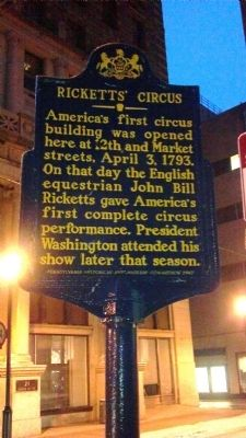 Ricketts Circus Marker image. Click for full size.