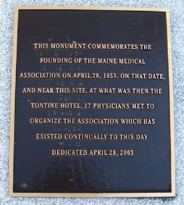 Founding of the Maine Medical Association Marker image. Click for full size.