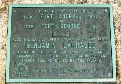 Site of Fort Andross and Fort George Marker image. Click for full size.