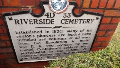 Riverside Cemetery Marker image. Click for full size.