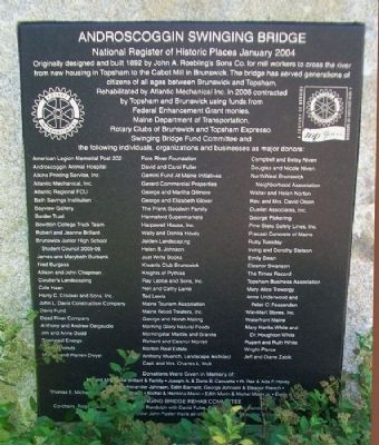 Androscoggin Swinging Bridge Marker image. Click for full size.