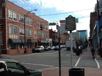Downtown North Historic District Marker and Trade Street honorary marker image. Click for full size.