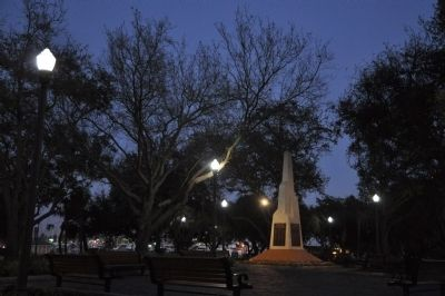 Newly-reconstructed Pioneer Park at night. image. Click for full size.