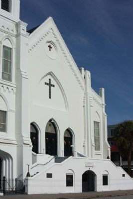 Emanuel African Methodist Episcopal Church with Marker, at left image. Click for full size.