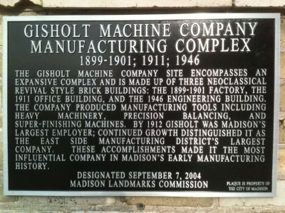 Gisholt Machine Company Manufacturing Complex Marker Photo, Click for full size