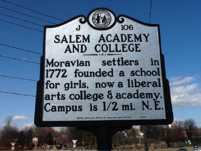 Salem Academy and College Marker image. Click for full size.
