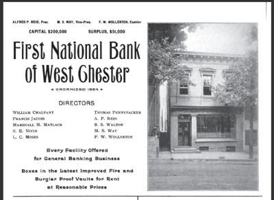 The First National Bank of West Chester Ad c. 1899 image. Click for full size.