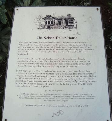 The Nelson-DeLuz House Marker image. Click for full size.