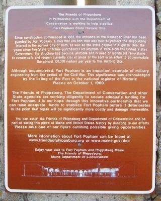 Fort Popham State Historic Site Marker image. Click for full size.