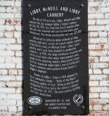 Libby, McNeill and Libby Cannery Marker image. Click for full size.