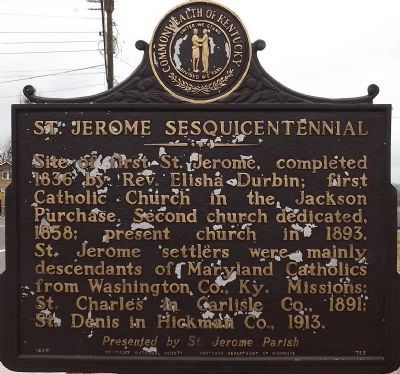 St. Jerome Sesquicentennial Marker image. Click for full size.