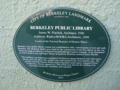 Berkeley Public Library Marker image. Click for full size.