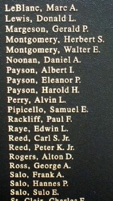 Owl's Head Veterans Memorial WWII Honor Roll image. Click for full size.