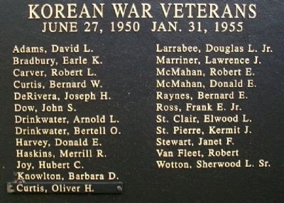 Owl's Head Veterans Memorial Korean War Honor Roll image. Click for full size.
