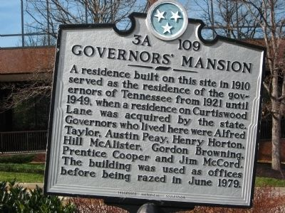 Governors' Mansion Marker image. Click for full size.