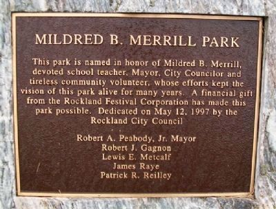 Mildred B. Merrill Park Marker image. Click for full size.
