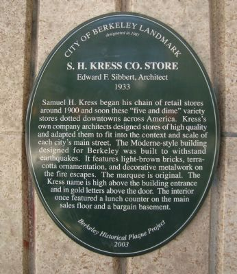 S.H. Kress Co. Store Marker image. Click for full size.