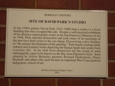 Site of David Park�s Studio Marker image. Click for full size.