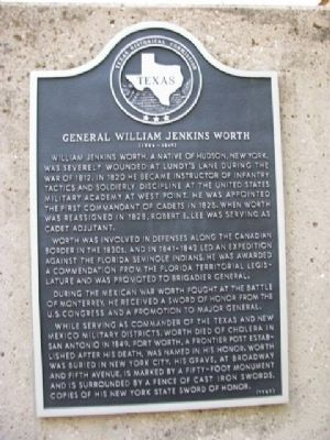 General William Jenkins Worth Marker image. Click for full size.