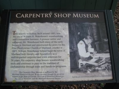 Carpentry Shop Museum Marker image. Click for full size.