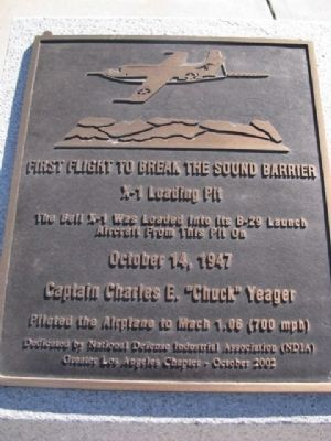 First Fllight to Break the Sound Barrier Marker image. Click for full size.