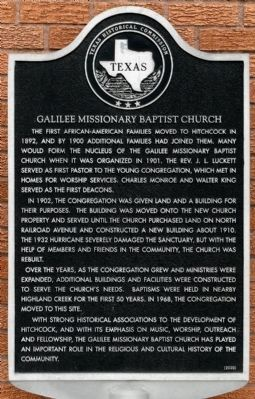 Galilee Missionary Baptist Church Marker image. Click for full size.
