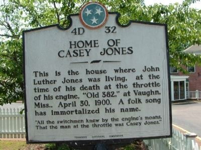 Home of Casey Jones Marker image. Click for full size.