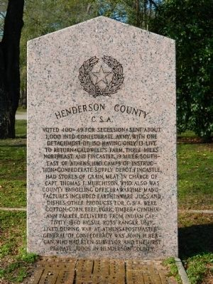 Henderson County/Home Town of Texas Confederate Marker Photo, Click for full size