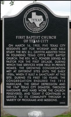 First Baptist Church of Texas City Marker image. Click for full size.