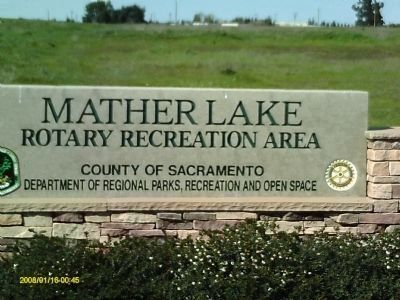 Mather Lake Rotory Recreation Area Entrance Sign image. Click for full size.